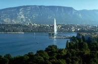 Geneva and Jet d'Eau in front of Mount Saleve
